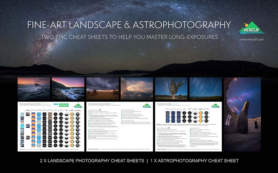 Landscape and astrophotography cheat sheets